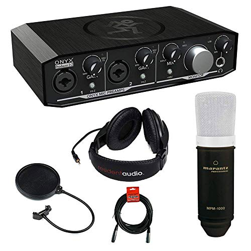 Mackie Onyx Series Producer 2-2 Audio Interface with Marantz MPM-1000 Large-Diaphragm Condenser Microphone, R100 Stereo Headphone, XLR Cable and Pop (Large Diaphragm Stereo Condenser)