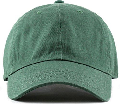 Green Low Profile Cap - Plain Stonewashed Cotton Adjustable Hat Low Profile Baseball Cap.(Dark Green)