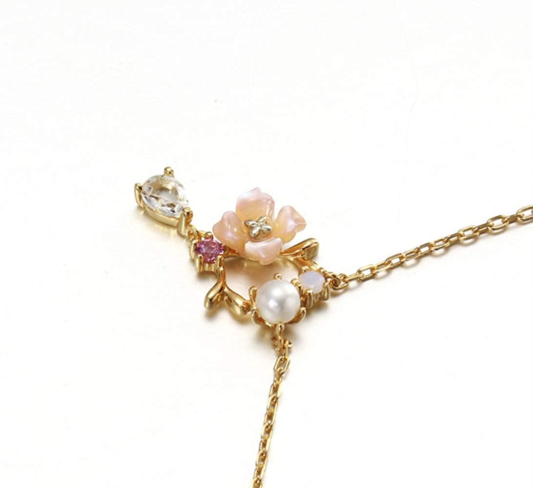 Haiyuan Ladies Necklace Spring Small Fresh Natural Powder Shell Necklace Female 925 Sterling Silver Pearl Drop Pendant