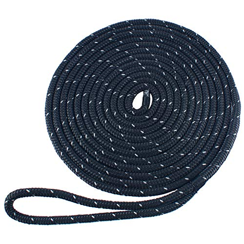 Amarine Made 3/8 Inch 20 FT Reflective Double Braid Nylon Dockline Dock Line Mooring Rope Double Braided Dock Line (Black)