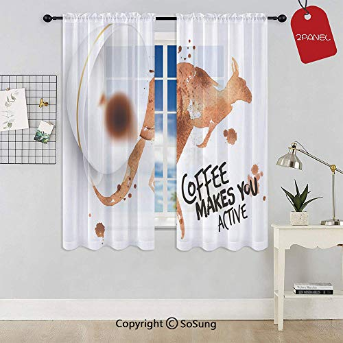 (Morning Drink Caffeine Active Start Stains Messy Look and Kangaroo Decorative Rod Pocket Sheer Voile Window Curtain Panels for Kids Room,Kitchen,Living Room & Bedroom,2 Panels,Each 42x45 Inch,Burnt S)