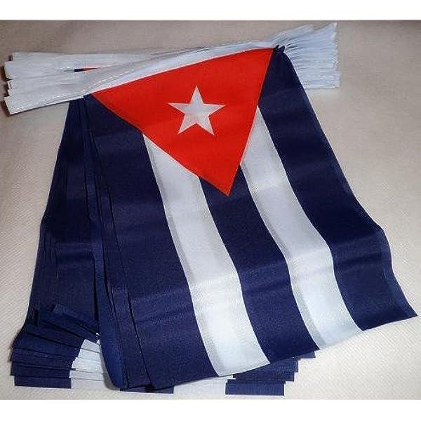 AZ FLAG Guirnalda 6 Metros 20 Banderas de Cuba 21x15cm - Bandera Cubana 15 x 21 cm - BANDERINES: Amazon.es: Hogar