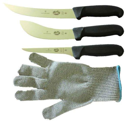 Forschner-Victorinox 5 Inch Boning Knife, 8 Inch Breaking, Knife 6 Inch Skinning Knife & LARGE Polar Bear Cut Resistant Glove