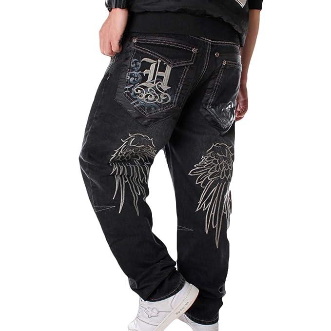 Pantalones Vaqueros Hombre Hip Hop Baggy Bordado Jeans Danza ...