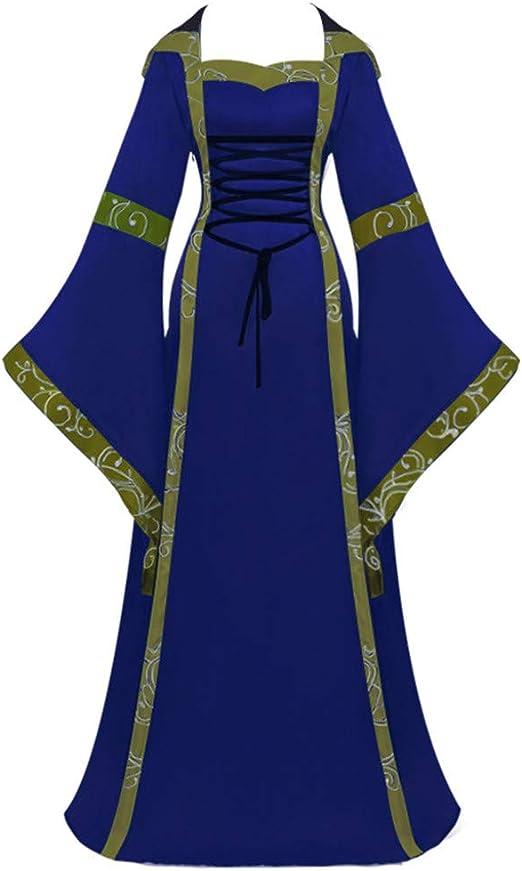 UK Womens Long Dress Gothic Renaissance Medieval Cosplay Dress Costume Hot Sale