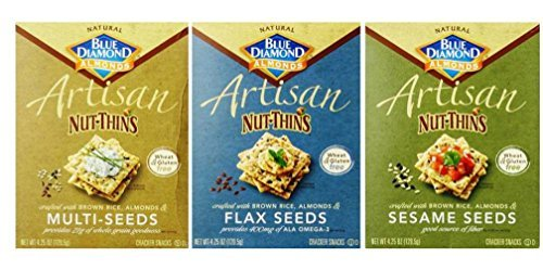 Blue Diamond Wheat & Gluten Free Artisan Nut Thins Crackers 3 Flavor Variety Bundle: (1) Blue Diamond Multi-Seeds, (1) Blue Diamond Flax Seed, and (1) Blue Diamond Sesame Seed, 4.25 - Free Gluten Wheat