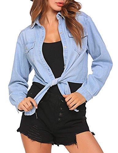 Long Blouse Casual Denim Sleeve Women Button Blue Lapel Down Meaneor Jacket T Shirt Tops 2 Light Jean qUIT5wzUxc