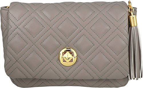 B BRENTANO Vegan Quilted Flap-Over Crossbody Bag with Chain Strap and Tassel Accent (Gray)