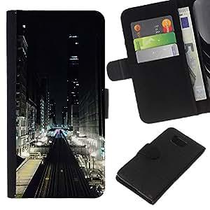 KLONGSHOP // Tirón de la caja Cartera de cuero con ranuras para tarjetas - Luces de la calle Ver Edificios - Samsung ALPHA G850 //