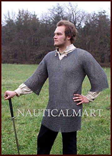 NauticalMart Neck shirt Haubergeon, flat ring riveted with wedge rivets, ID 8 mm, size. XL by NAUTICALMART