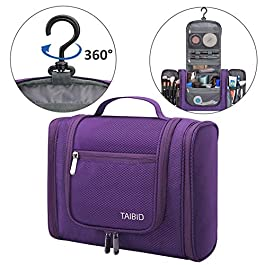TAIBID Large Hanging Travel Toiletry Bag for Men and Women Waterproof Makeup Organizer Bags wash bag Shaving Kit Cosmetic Bag for Accessories, Shampoo,Bathroom Shower, Personal Items Purple