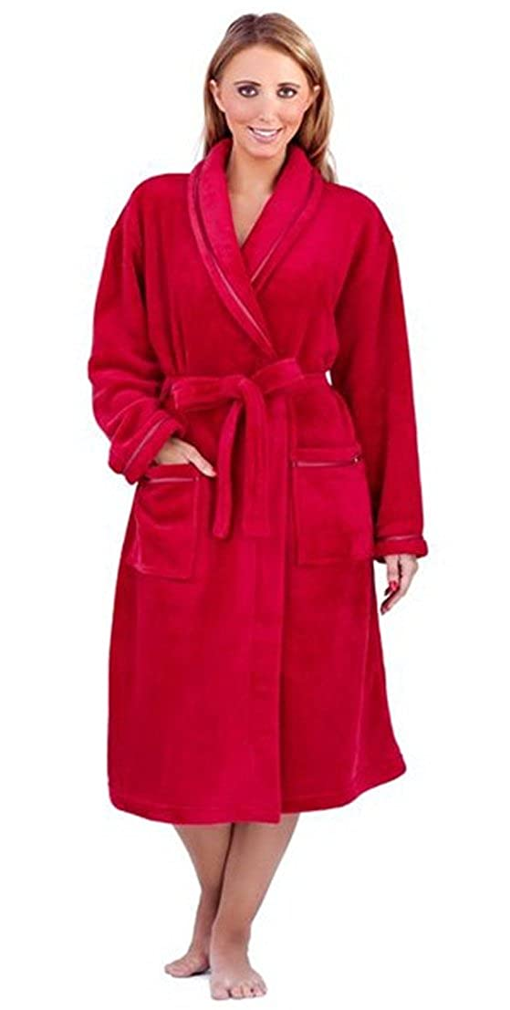 NEW LUXURY WOMENS FULL LENGTH FLEECE BATH ROBE DRESSING GOWN HOUSECOAT+ BELT POCKETS COLLAR LADIES S/M- XL LD Outlet