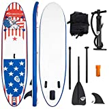 Goplus Inflatable Stand up Paddle Board iSUP Cruiser 6' Thickness iSUP Package w/3 Fins Thuster, Adjustable Paddle, Pump Kit and Carry Backpack (Stars and Stripes, 11 FT)