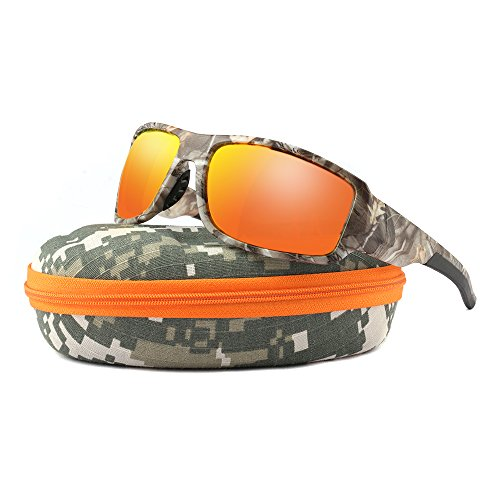 Polarized Sunglasses Men Camouflage Wrap Around Sport Frame Lightweight with camo hard case Mirrored Lens Available