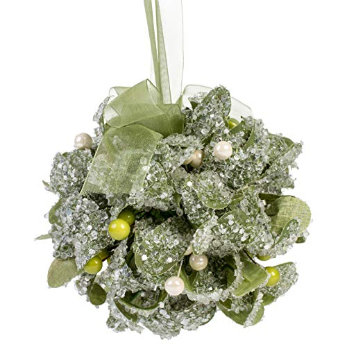 (Elanze Designs Kissing Mistletoe Ball Festive Green 5 x 5 Acrylic Christmas Hanging Ornament)