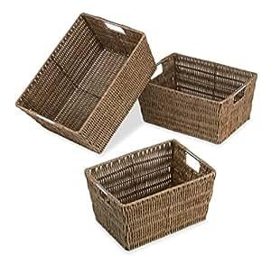 Whitmor Distressed Rattique Storage Baskets Set of 3 -Dark