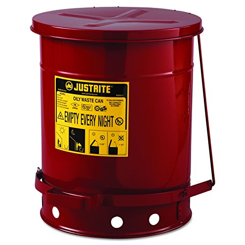 JUSTRITE 09300 Red Oily Waste Can, 10gal, Lever Lid ()