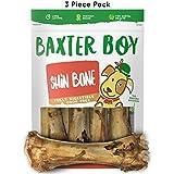 "Baxter Boy Premium Grade Roasted Meaty Beef Shin Bone Dog Treats (3 Pack) – 8"" Long Lasting All Natural Gourmet & Healthy Dog Bone Treat Chews – Tasty Smoked Beef Flavor"