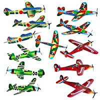 """Bulk Party Favors 8"""" Glider Planes Fighter Jets - Fun Toys - Pk of 24 Gliders - Foam Glider Airplane - Fun Gift, Party Favors, Stocking Stuffer, Goody Bag Fillers, Carnival Prizes, Pinata Filler"""
