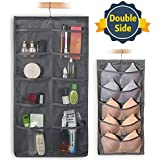 FHSQX Closet & Door Hanging Organizer with Rotating Metal Hanger, Mesh Pockets and Dual Sided Wall Shelf Wardrobe Storage Bags for Bra Sock Shoe Jewelry Gadget