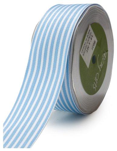 May Arts 1-1/2-Inch Wide Ribbon, Light Blue Grosgrain Stripe