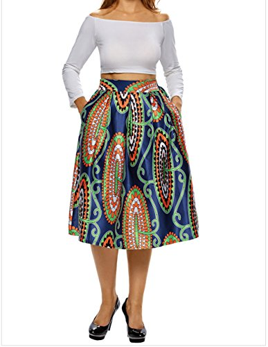 DH-MS Dress Womens Vintage High Waist Africa Print A-lined Midi Skirt Print (Satin Rouge Evening Gown)