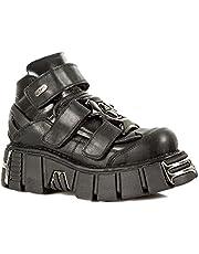 Smart Range M.285-S1 Newrock Metallic Black Leather Gothic/Punk Unisex Shoes Boots