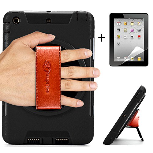 Supfives iPad Mini Case,Heavy Duty Shock-Proof [360 degree rotation Handheld Series] Full-body Rugged Protective Case with &Hand Strap &Built-in kickstand &Dual Layer Design for iPad Mini 1/2/3(Black)