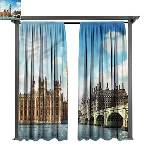 (cobeDecor UV Protectant Indoor Outdoor Curtain Panel London Westminister Bridge Thames for Lawn & Garden, Water & Wind Proof W72 xL84)