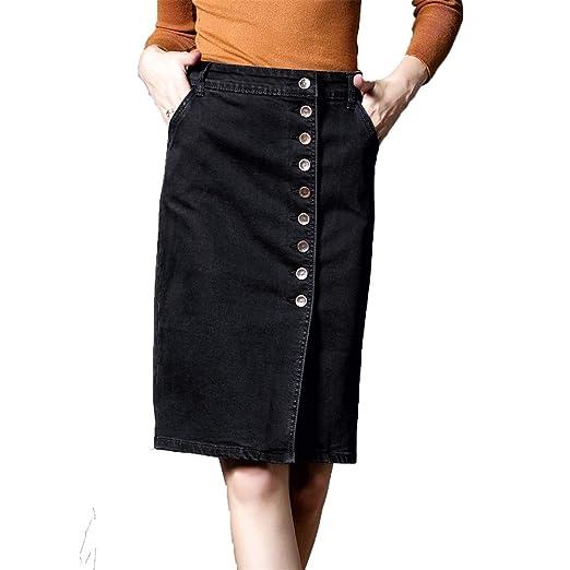 Lfives Falda elástica para Mujer Falda elástica de Mezclilla ...