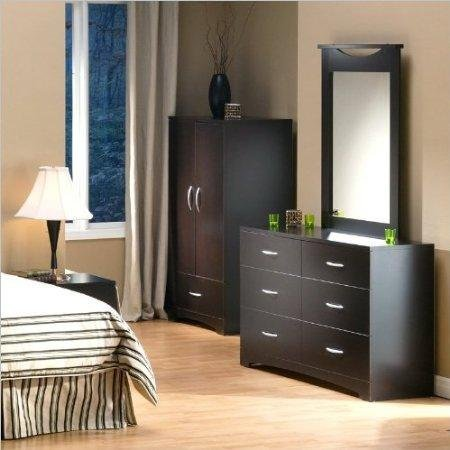 South Shore Back Bay Double Dresser and Mirror Set in Dark Chocolate - Double Dresser Set