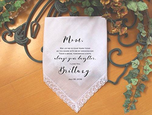 Joy Handkerchief (Mother of the Bride handkerchief, PRINTED, May joy be in your tears today, Mom Handkerchief, Mother of the Bride Gift,Personalized. LS6FPaCo by Snugahug)