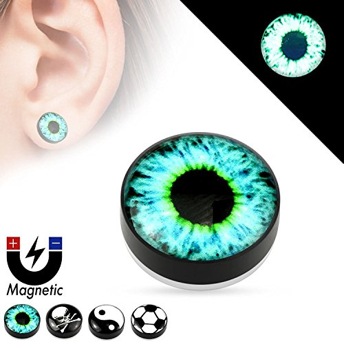 logo-epoxy-dome-top-black-acrylic-glow-in-the-dark-fake-magnetic-plugs-sold-as-pairs-blue-eyeball