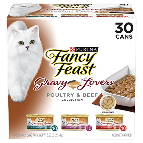 Purina Fancy Feast Gravy Wet Cat Food  Variety Pack; Gravy Lovers Poultry & Beef Feast Collection - (30) 3 oz. Cans (Fancy Feast Cat Food In Gravy)