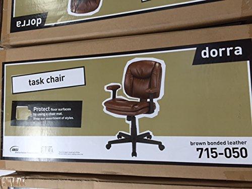 Amazon.com: Dorra Task Chair / Bonded Brown Leather / Brown Desk Chair:  Kitchen U0026 Dining