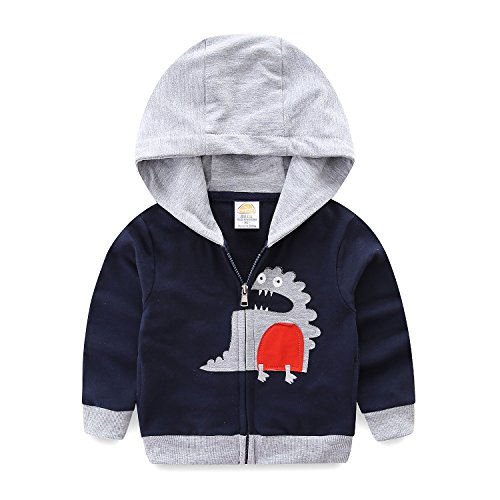 Assistant Hooded Sweatshirt (Mud Kingdom Toddler Boys Dinosaur Hoodies Cute Applique Patchwork 24M Navy)