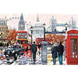 Puzzles, Wooden Puzzles 1000 Pieces,London Street View, Adult Creative Gift Decompression Jigsaw Puzzles Cartoon Educational Toys for Children of Students Christmas Gifts