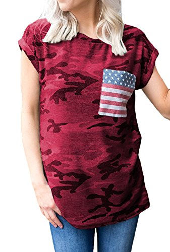 SIXHAVY Womens Tees and Tops Short Sleeve Camo T Shirts with Pockets