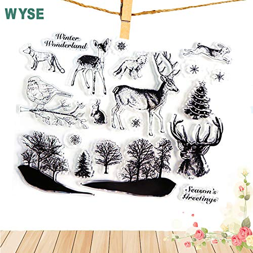 Reindeer Clear Stamp Rubber Stamp for Card Making 1418cm Christmas Clear Stamps Animals Silicone Rubber Transparent Stamp Deer Wolf Animal Stamp for Scrapbooking DIY Decor Tools