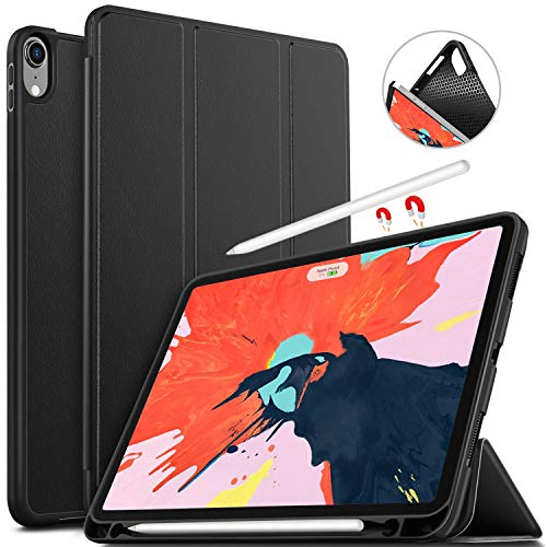 IVSO Case for iPad Pro 11, Ultra Lightweight Trifold Smart Rubber Cover Case Auto Sleep/Wake Function Apple Pencil Charging Supported Fit for Apple iPad Pro 11 2018 Release (Black)
