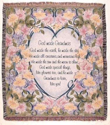 """God Made Grandmas"" Floral Tapestry Throw Blanket 50"" x 60"" SKU TPM837"