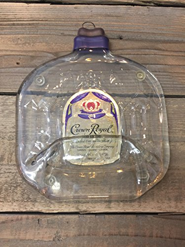 Crown Royal whiskey Handmade melted bottle serving tray - Great one of kind gift ()