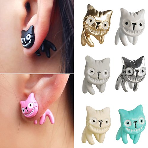 ink2055 1 Pc 3D Smiling Cat Stereoscopic Impalement Ear Stud for Women Girl Piercing Earrings Jewelry Accessory