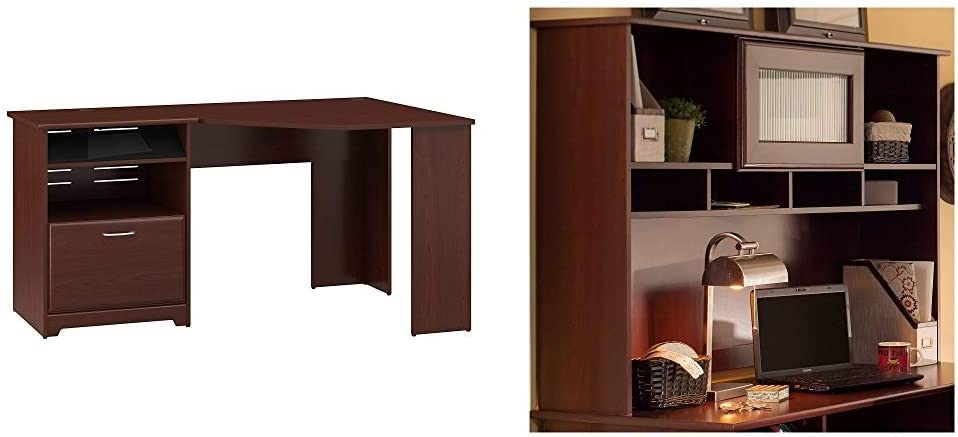 Bush Furniture Cabot Corner Desk with File Drawer in Harvest Cherry & Cabot 60W Hutch, Harvest Cherry