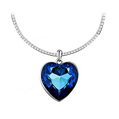 Amazon isijie jewelry sapphire heart of the ocean titanic isijie jewelry sapphire heart of the oceantitanic pendant necklace for women girls aloadofball Choice Image