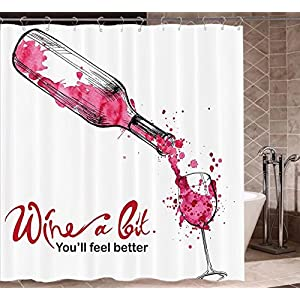 """Wine Shower Curtains Mildew Resistant Wine a Bit You Feel Better Inspirational Quote Bottle Pouring Sketch Art Bathroom Decor Sets with Hooks W72""""xH80"""" Pink Dark Coral Black"""