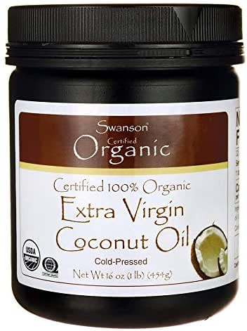 Swanson Certified 100% Organic Extra Virgin Coconut Oil 16 Ounce (1 lb) (454 g) Solid Oil