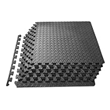 ProSource Puzzle Exercise Mat 1.2cm, EVA Foam Interlocking Tiles Protective Flooring for Gym Equipment and Cushion for Workouts