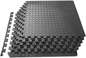 ProSource Tapete de ejercicio estilo Rompecabezas con fichas enlazables de espuma EVA de alta calidad, cubre 2.2 m², gris