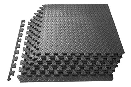 ProSource Puzzle Exercise Mat, EVA Foam Interlocking Tiles, 24 Square Feet, Grey (Includes 6 (Interlocking Garage Floor)